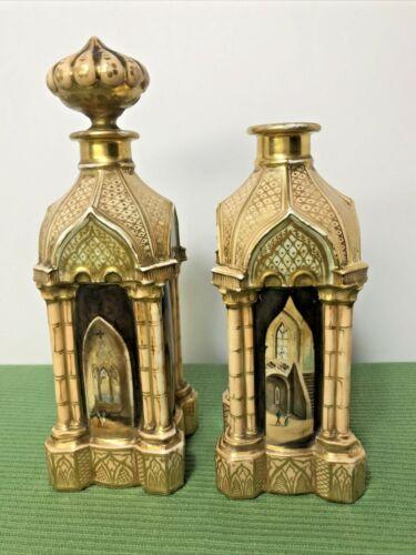 PAIR Antique French Painted Porcelain Perfume Scent Bottles Rococo 19c J Petet?
