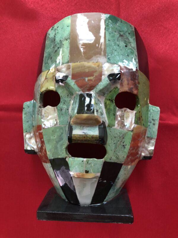 Mayan Mask in Green Onix Chac Mool