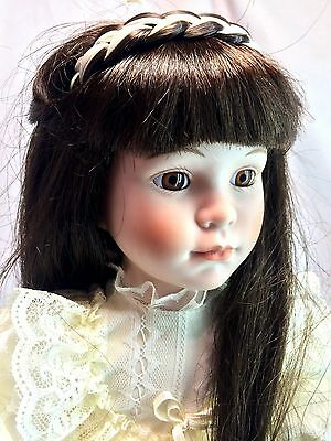 "Dynasty Collection Vintage Long Black Hair Eva Girl 16"" Porcelain Bisque Doll"