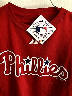 - MLB  Phillies Red Majestic Team logo t-shirt