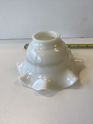 Vintage White Milk Glass Lamp Shade Pendant Ruffle Victorian Deco