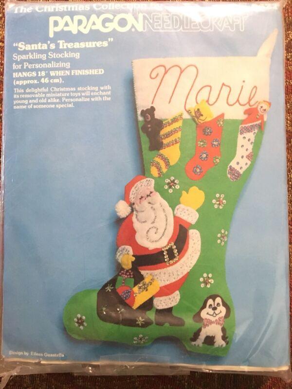 Paragon Needlecraft Sparkling Christmas Stocking Kit SANTA'S TREASURES ~Complete