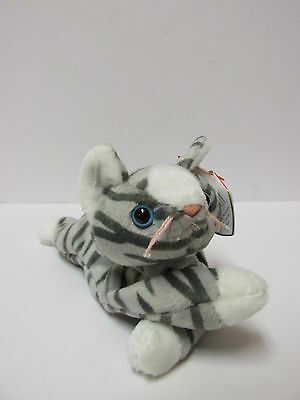 Ty Beanie Baby Prance  Silver Tabby Feline  Kitty Cat Pristine Clean   Mint Tags