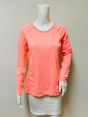 Danskin Now Women's Orange Activewear Shirt Immensity Medium Long Sleeves Mesh Detail