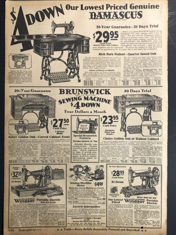 Vintage 1930 Ward's Sewing Machines Brunswick Damascus B&W Print Ad 9x13 MWC 546