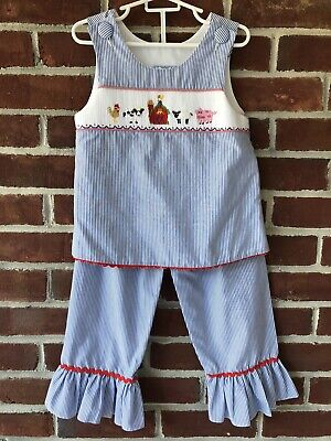 Three Sisters Smocked Two Piece Set Blue Stripe with Farm Scene 4T Blue Infant Two Piece