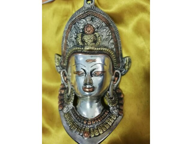 Old Ancient Tibet Collect Buddhism Bronze Green Tara Buddha Head Mask Statue D
