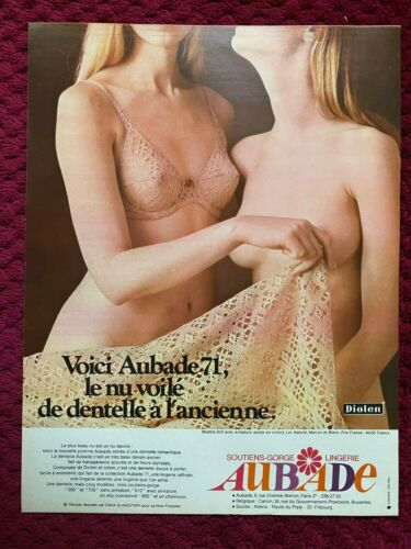 1971 AUBADE Lingerie  BRA : French  Magazine  Print AD