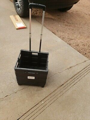 Office Supply Mobile Folding Utility Cart Wheels 16 X 18 X 15 - Black