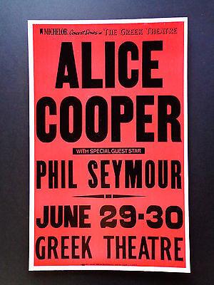 ALICE COOPER  AT THE GREEK THEATRE -  ORIGINAL VINTAGE CONCERT PROMOTION POSTER