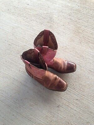 Acme Quill Ostrich Print Cowboy Western Boots Kids Size 2.5D