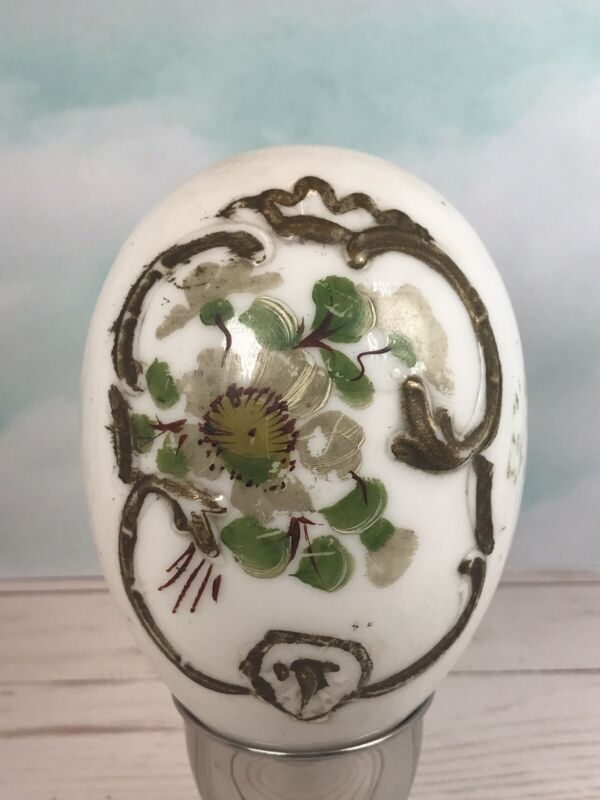 Antique Victorian Milk Glass Easter Egg Hand Blown Painted