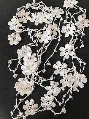 white daisy crochet turkish oya necklace handmade jewelry christmas gift 4meters