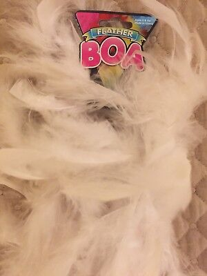 6 FEET LONG WHITE FEATHER BOA GREAT FOR PARTIES CRAFTS FUN GLAMOR (White Boa Feathers)