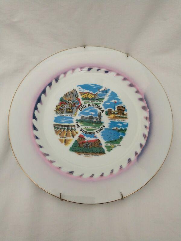 """Vintage Souvenir Plate Oklahoma 10 1/2"""""""