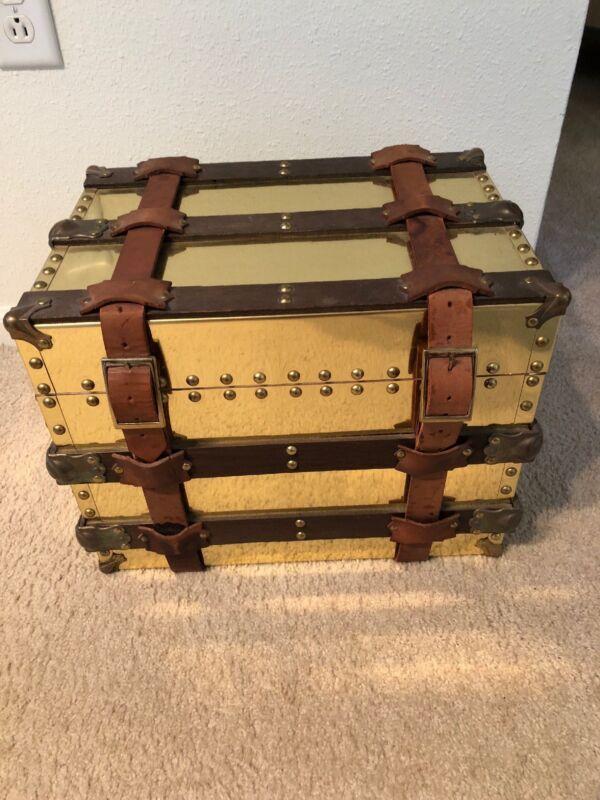 Vintage Breuners Brass Trunk w/Leather Straps & Wooden Slats Originally $500