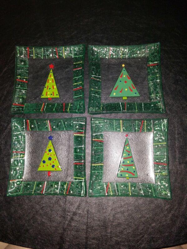 """12 Gorham """"Christmas Splendor"""" fused glass square appetizer/dessert plates"""