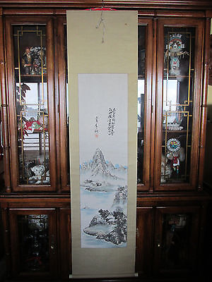 Signed Chinese Landscape Mountains Silk Scroll Wall Hanging Watercolor Painting