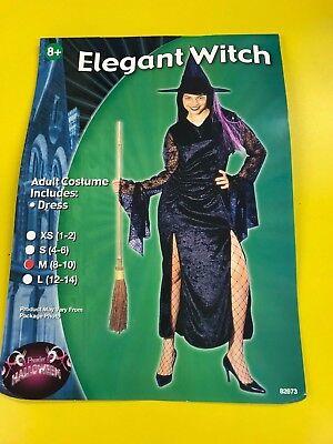 Halloween Terciopelo Negro Elegante Bruja Disfraz Adulto - Size 8-10 - Brujas Disfraz Halloween