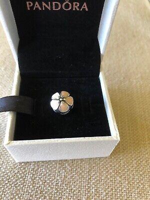 Enamel Sterling Silver Flower Beads - Pandora Sterling Silver Clip Bead-Light Pink Enamel Flower-Excellent Condition