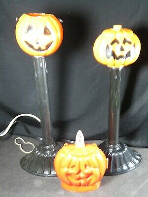 2 Vintage Halloween Pumpkin JOL Candle Stick Plastic Blow Molds Lot Lights B1797