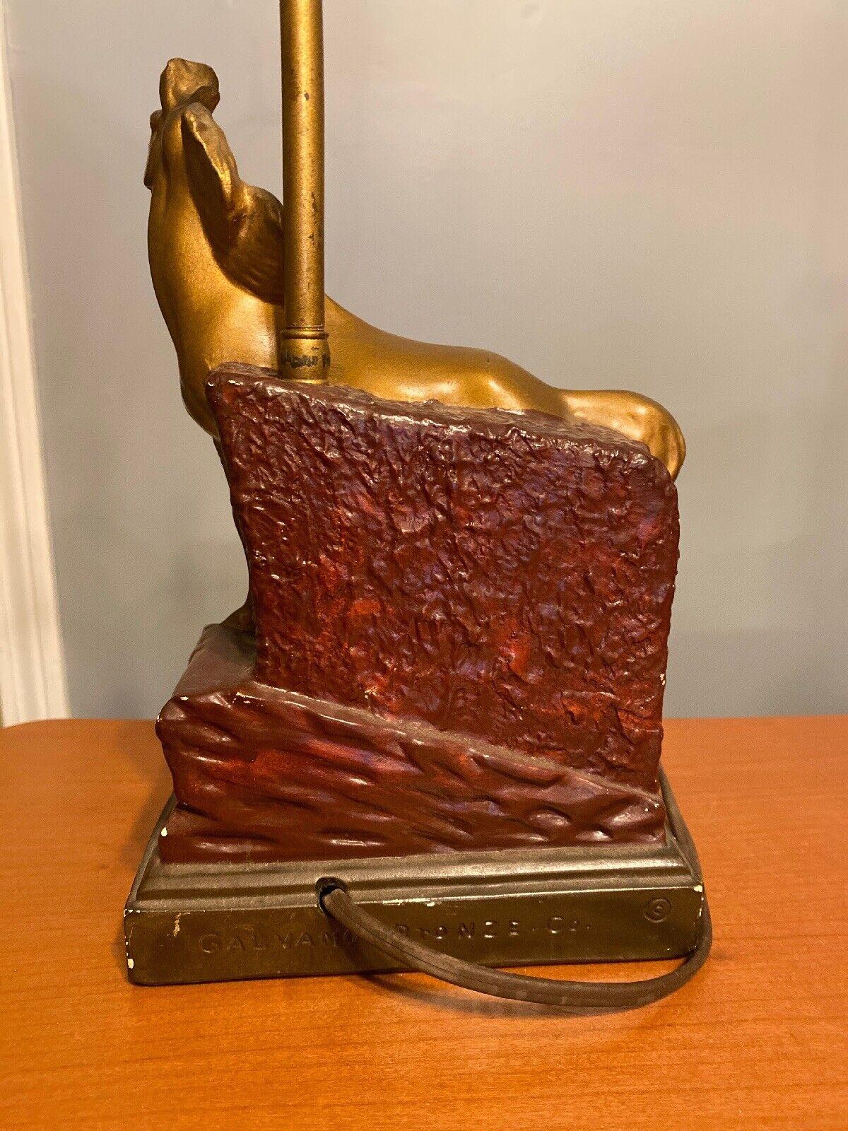 Mustang Vtg Cold Painted Plaster Horse Lamp Galvano Bronze Mark Paul Herzel 20  - $49.00