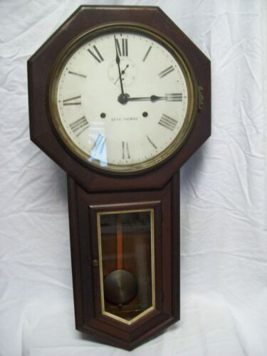 Antique Seth Thomas Long Drop Regulator Wall Clock All Original with Key Working