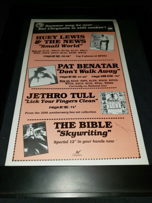 Huey Lewis/Jethro Tull/Pat Benatar Rare Original Radio Promo Poster Ad Framed!