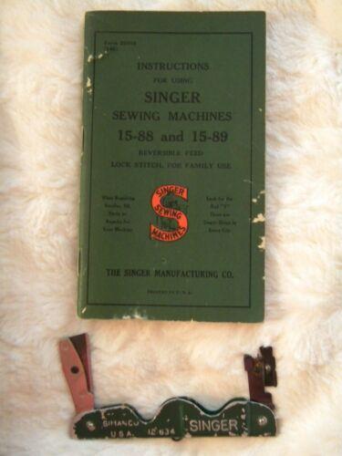 vintage Singer sewing machine 15-88&15-89 instruction bklet + knife tool #121634