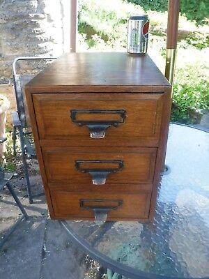 Antique Shannon Ltd 3 Drawer Oak Cabinets with Original Shannon Inserts