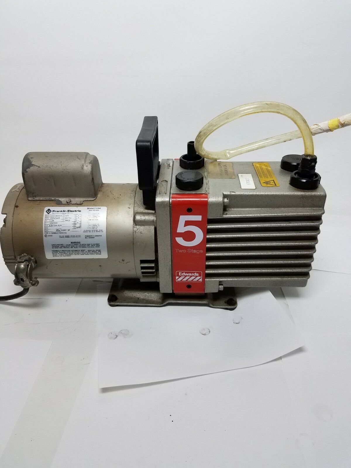 EDWARDS 5 E2M5 TWO-STAGE HIGH VACUUM PUMP TESTED AND WORKING
