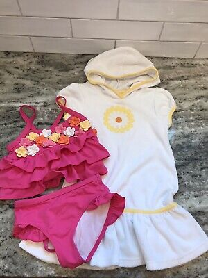 Toddler Girls Gymboree 2-Piece Flower Bathing Suit Swim + Cover Up Size -
