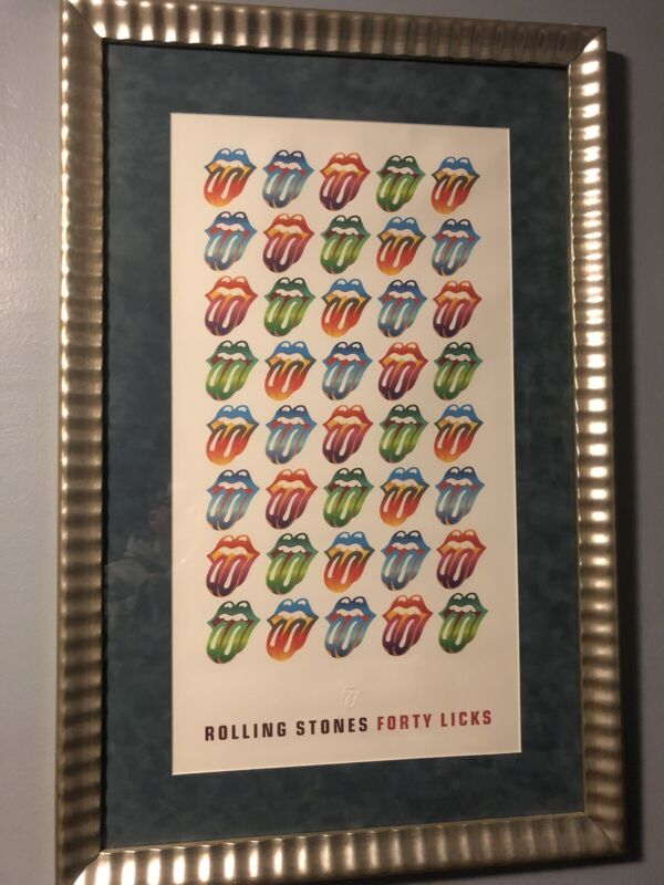 Rolling Stones 40 Licks Lithograph Framed With Glass Very Rare