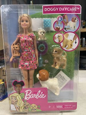 Barbie Doggy Daycare Doll Blonde Hair with 2 Dogs & 2 Puppies Feed and Potty
