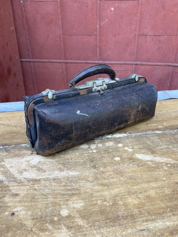 Antique Rare Leather Cowhide Doctor Physician Bag Small Salesman Sample Dentist