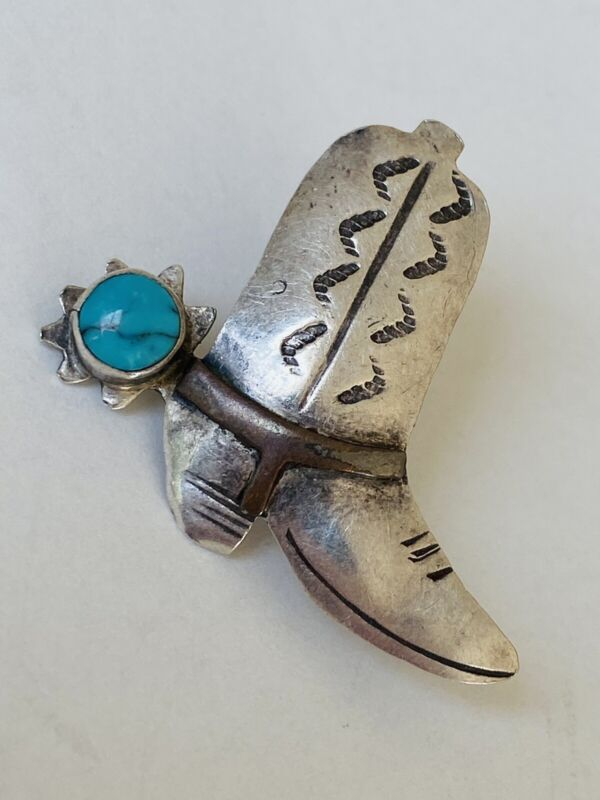 VINTAGE NAVAJO STERLING SILVER TURQUOISE COWBOY BOOT HAT PIN