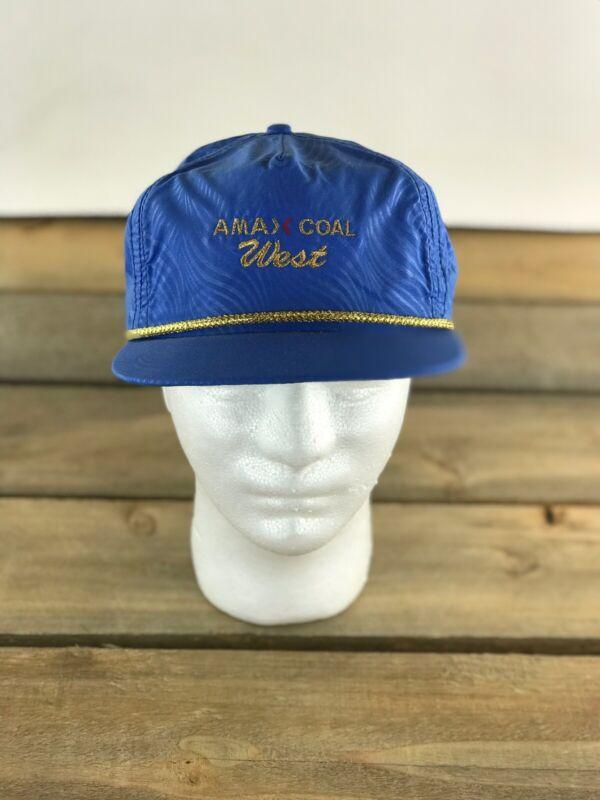 Vtg Amex Coal West Blue Strap Back Trucker Hat Imperial USA