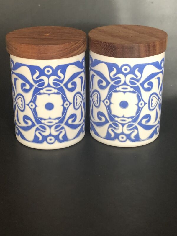 Vintage Hornsea Ceramic Salt & Pepper Shakers Blue White