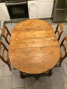 Rustic Farmhouse Table and 4 Antique Cane Chairs