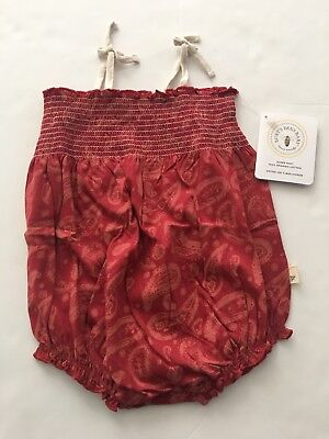 Burts Bee Baby Girl Paisley Smocked Bubble Romper Size 3 6 9 12 18 24 Months Red