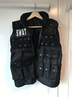 SWAT Team Costume Set Vest And Helmet Adult Police Gear Black Size M - Swat Team Helmet