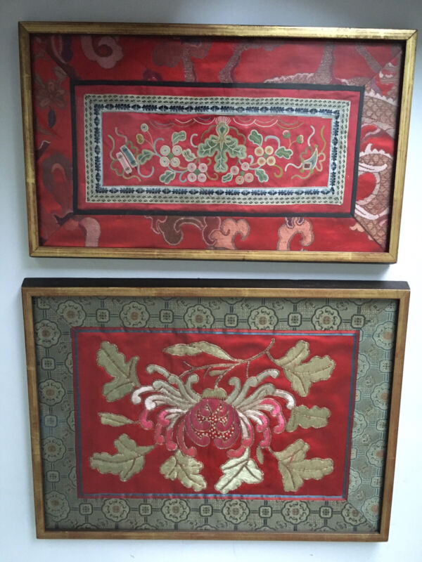 Pair Of Vintage Silk Kimono Embroidery Pieces Framed