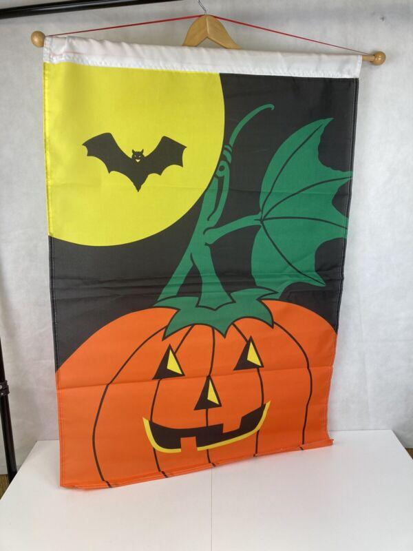 "VTG Halloween Outdoor Decor Garden House JOL Black Bat Moon 28 X 42"" Banner Flag"