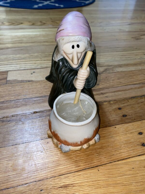 Vintage 1980s Halloween Ceramic Witch Cauldron Candle Holder Hand Painted Devil