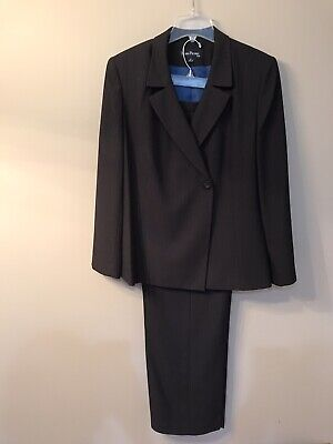 Womens Evan Picone Suit Size 14 Jacket Pants Black Blue Pin Stripe