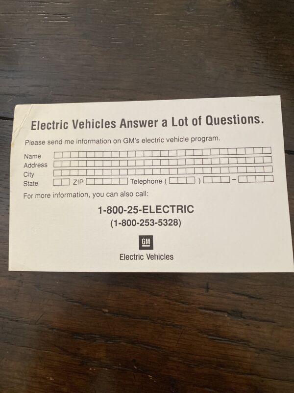 GM EV1 Electric Car Mail In Card For Information Original General Motors EV-1