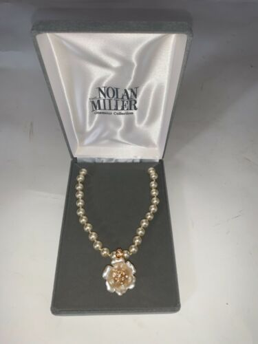 Nolan Miller Glass Faux Pearl necklace w/ Removable CZ enhanced flower