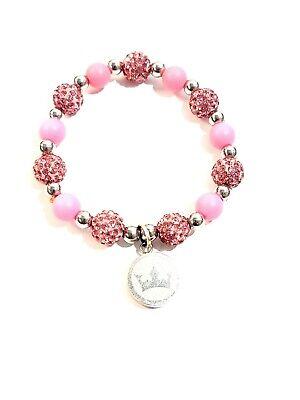 Rustic Cuff Crystal Pink Stretch Elastic Bracelet Sparkles