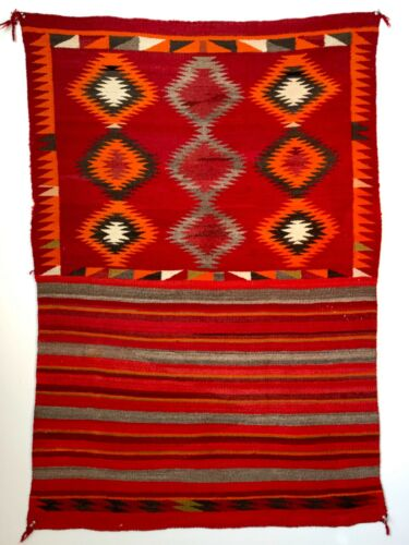 EXCEPTIONAL HISTORIC NAVAJO EYEDAZZLER DOUBLE PATTERN SADDLE BLANKET, EXCELLENT!