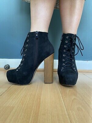 Super High Block Heals Black Lace Up Wooden Heal Boots Jeffrey Campbell Style 6
